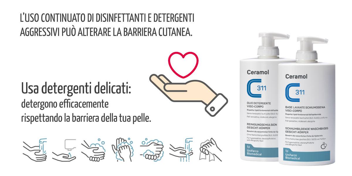 EMERGENZA MANI DA COVID - Usa detergenti delicati come il Ceramol